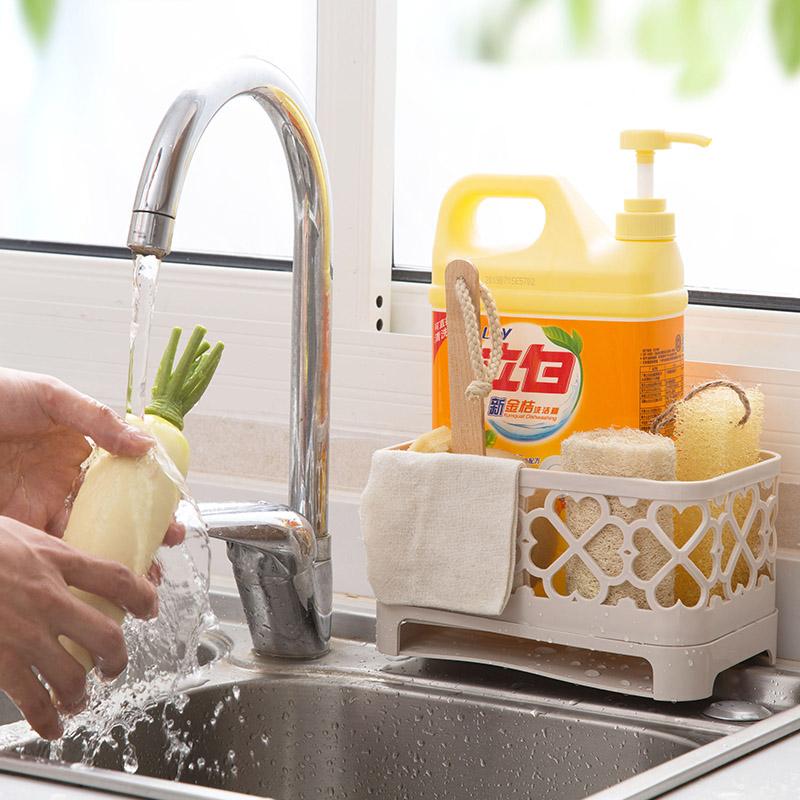 四季美 素色鏤空廚房置物架雙層瀝水架 水槽廚具收納筐杯子收納架
