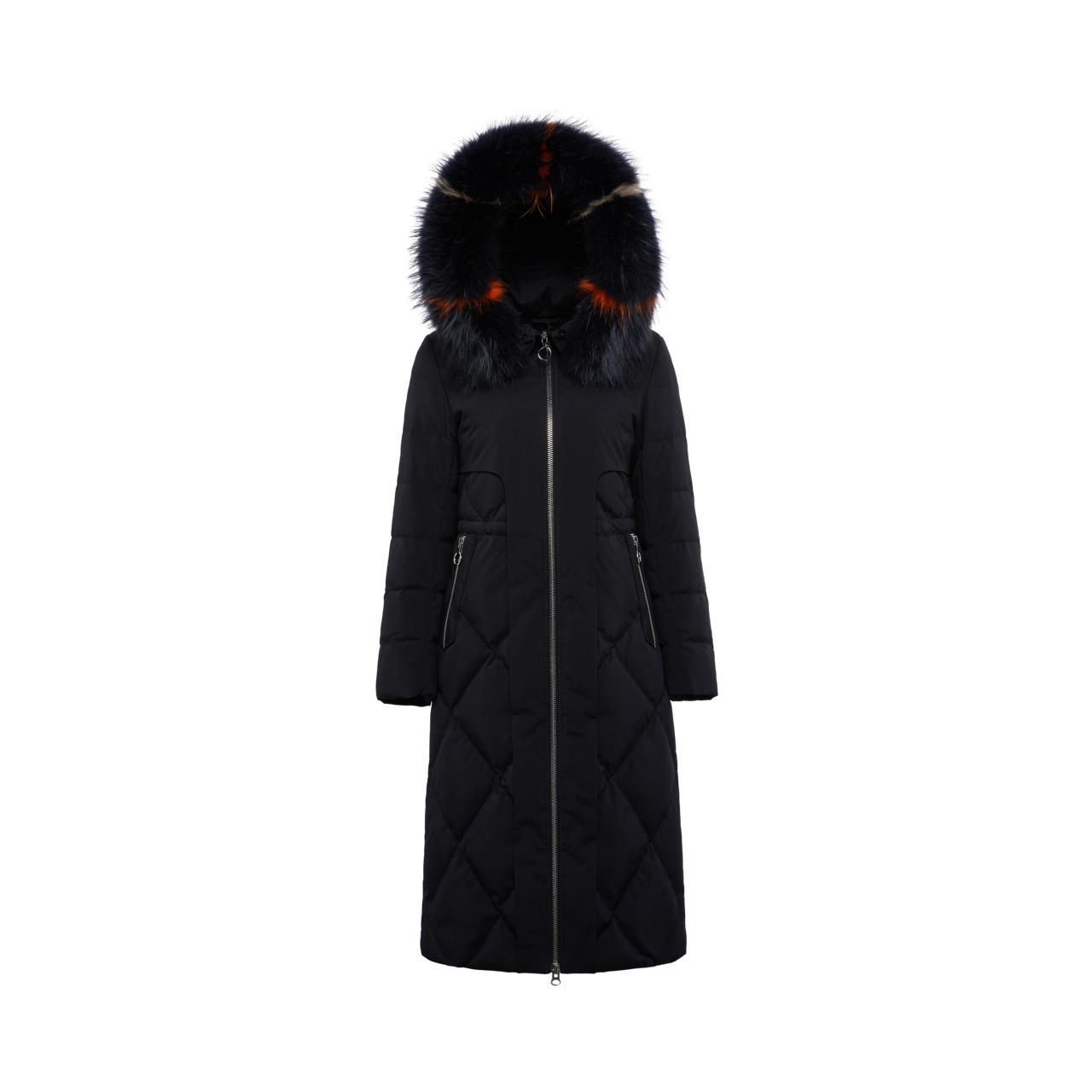 B80141010 波司登貉子大毛领羽绒服女长款过膝修身显瘦冬季厚外套