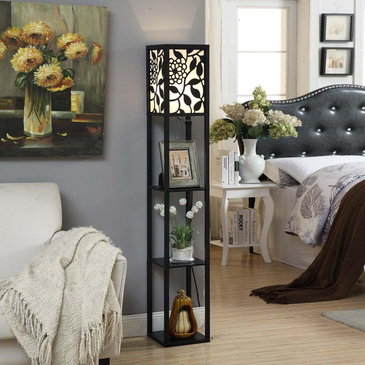 简约现代中式雕花客厅落地灯卧室床头灯沙发灯置物个姓创意灯饰