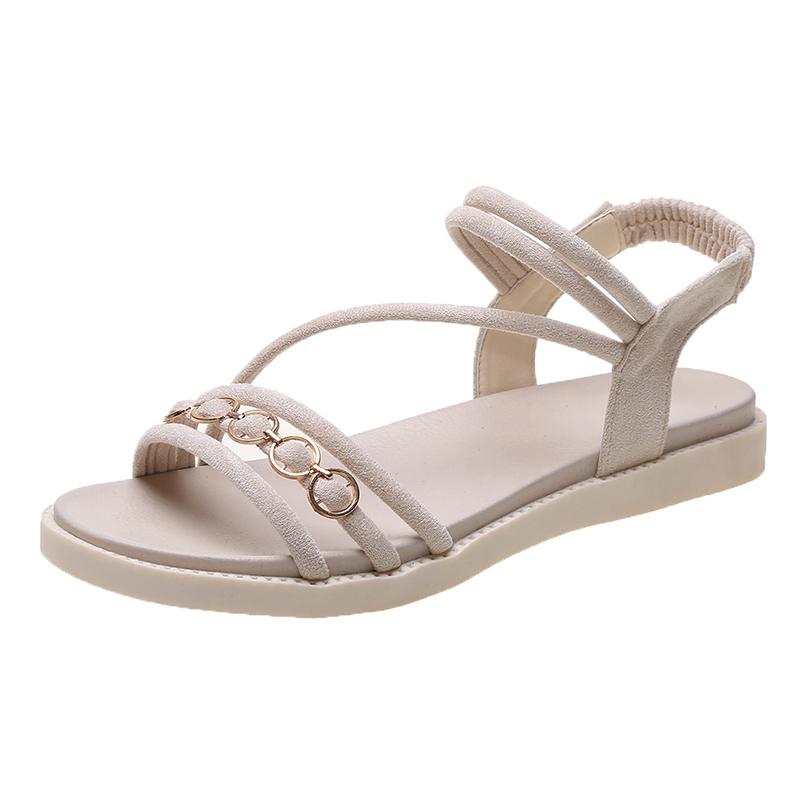 凉鞋女夏季新款软底学生鞋百搭简约仙女风平底罗马鞋防滑孕妇女鞋【图2】