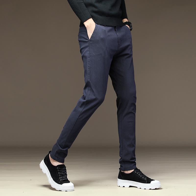 雅诺臣夏季弹力休闲裤男修身直筒薄款韩版长裤子男装