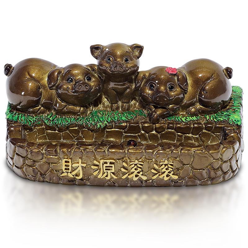 三只小猪茶宠精品摆件变色茶宠可爱创意支架茶盘饰品茶具配件可养