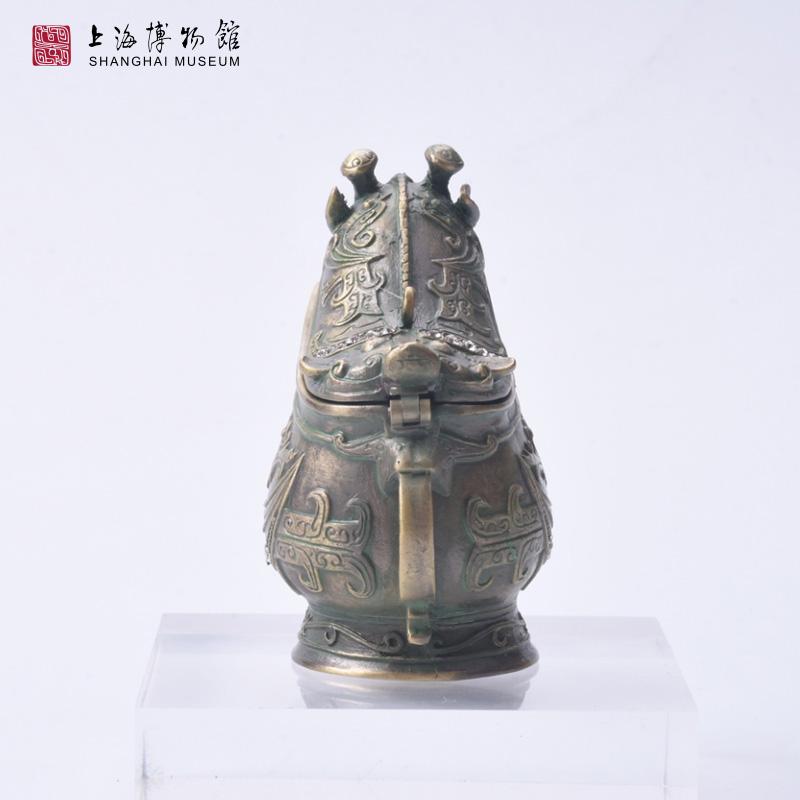 合金首饰盒创意摆件水钻伴手礼物 青铜父乙觥珠宝盒 上海博物馆