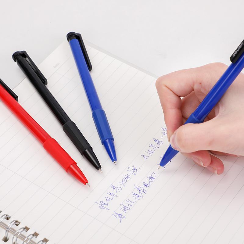 得力文具6546圆珠笔按压式蓝色0.7子弹头多色中油笔学生用商务办公男女士创意高档36支黑批发