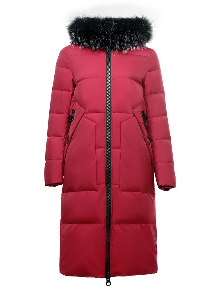 雪中飞反季大毛领羽绒服女中长款2019秋冬新款连帽加厚保暖外套