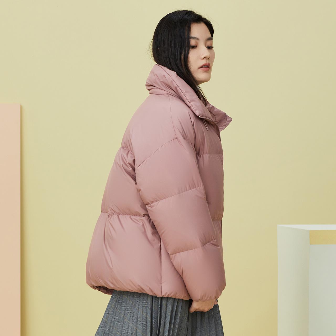 雪中飞 秋冬新款休闲简约保暖舒适立领短款面包鹅绒羽绒服女  2020