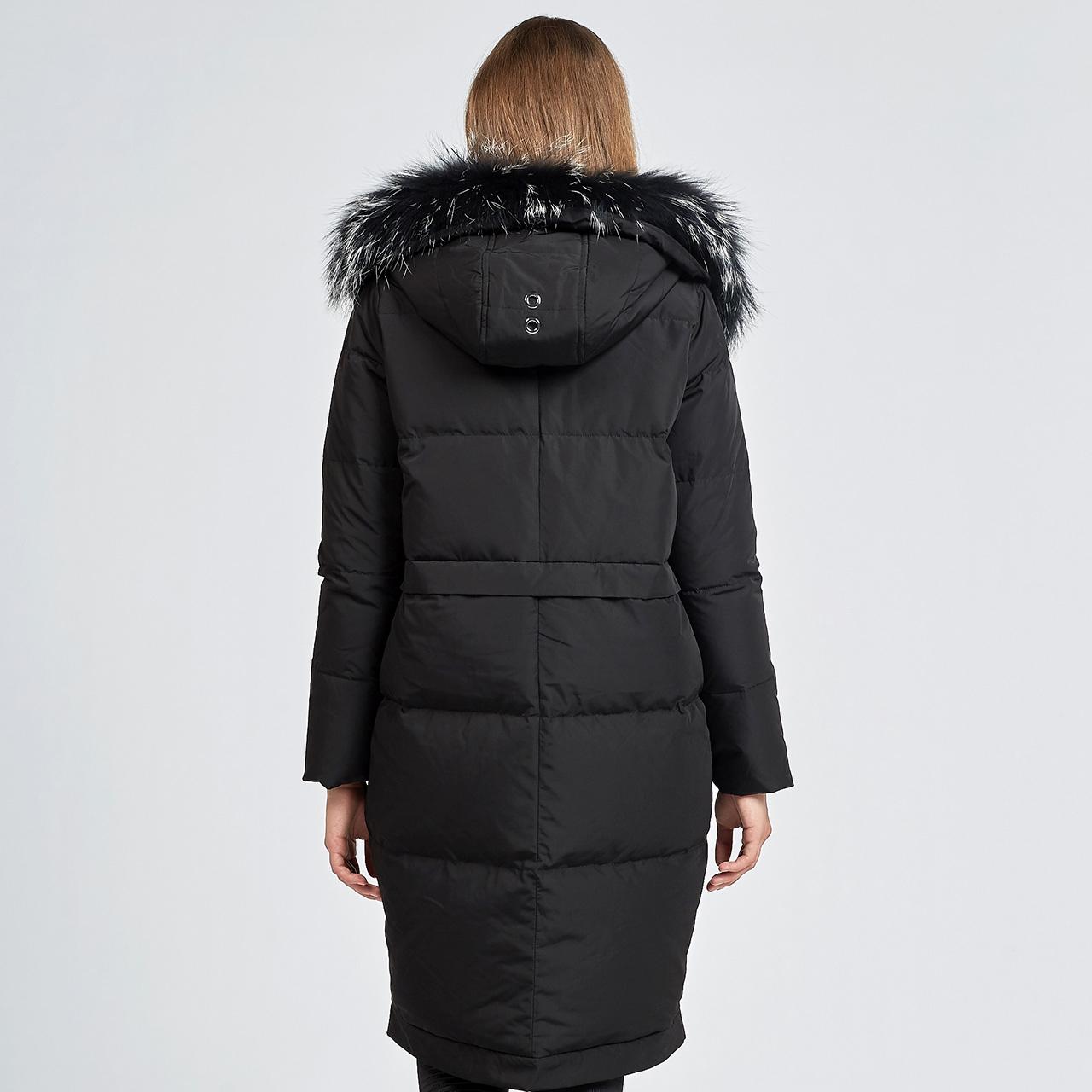 雪中飞2019秋冬反季羽绒服女中长款彩色大毛领加厚款过膝保暖外套
