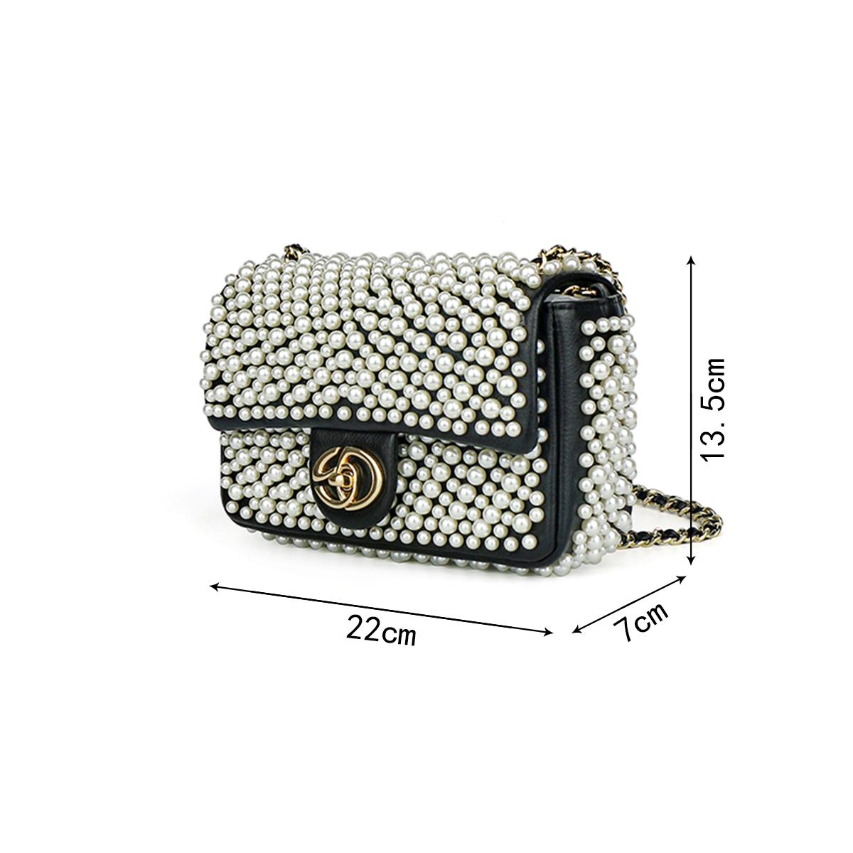 1A SD6272 萨迪珍珠链条锁扣包 2149
