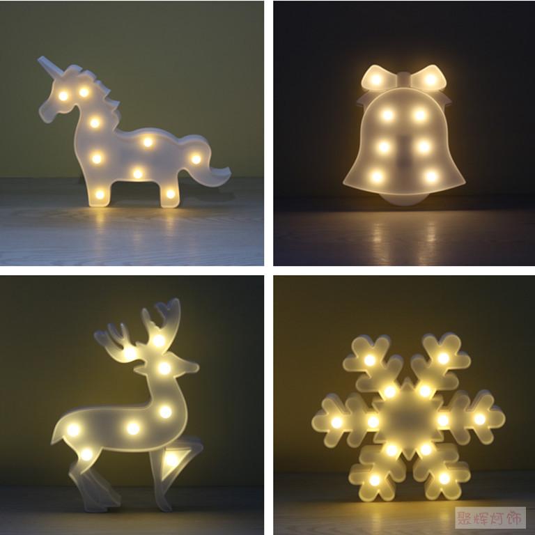 新款热卖雪花铃铛驯鹿独角兽造型灯装饰台灯字母小夜灯节日礼物