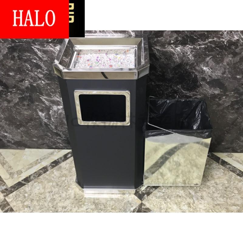 不锈钢圆形垃圾桶酒店室内环卫大堂立式烟灰户外果皮箱方形带内桶