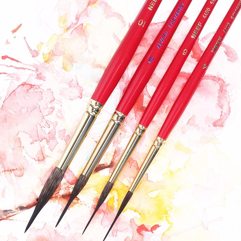 进口NEEF阿尔瓦罗红胖子松鼠毛水彩笔NEEF117水彩画笔刷子板刷/水彩毛笔大师级国画水彩颜料动物毛水彩笔