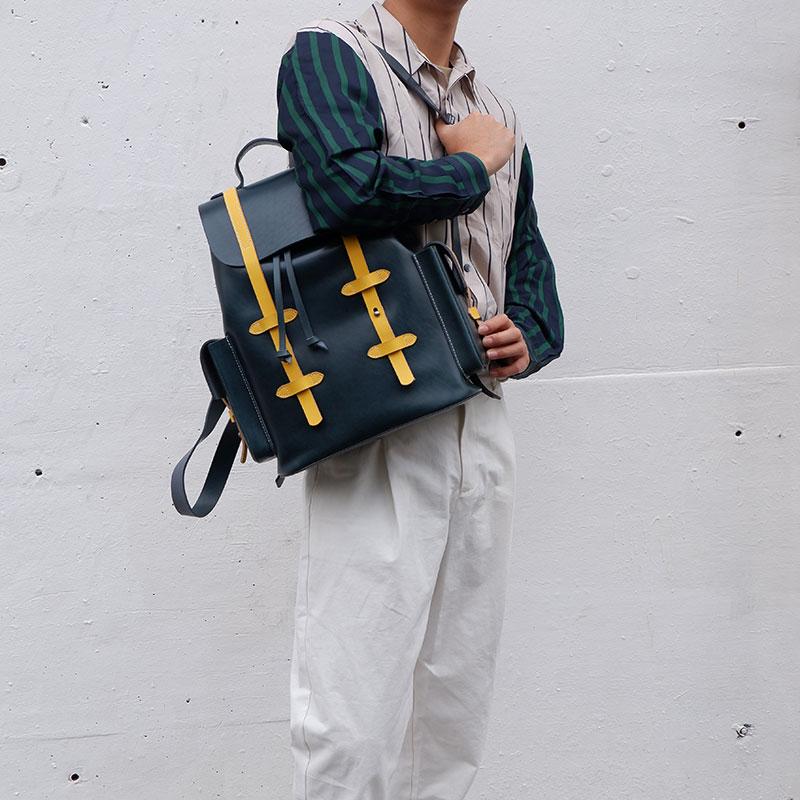 头层撞色植鞣复古文艺风经典大双肩背包旅行包 手工制作 不止手作