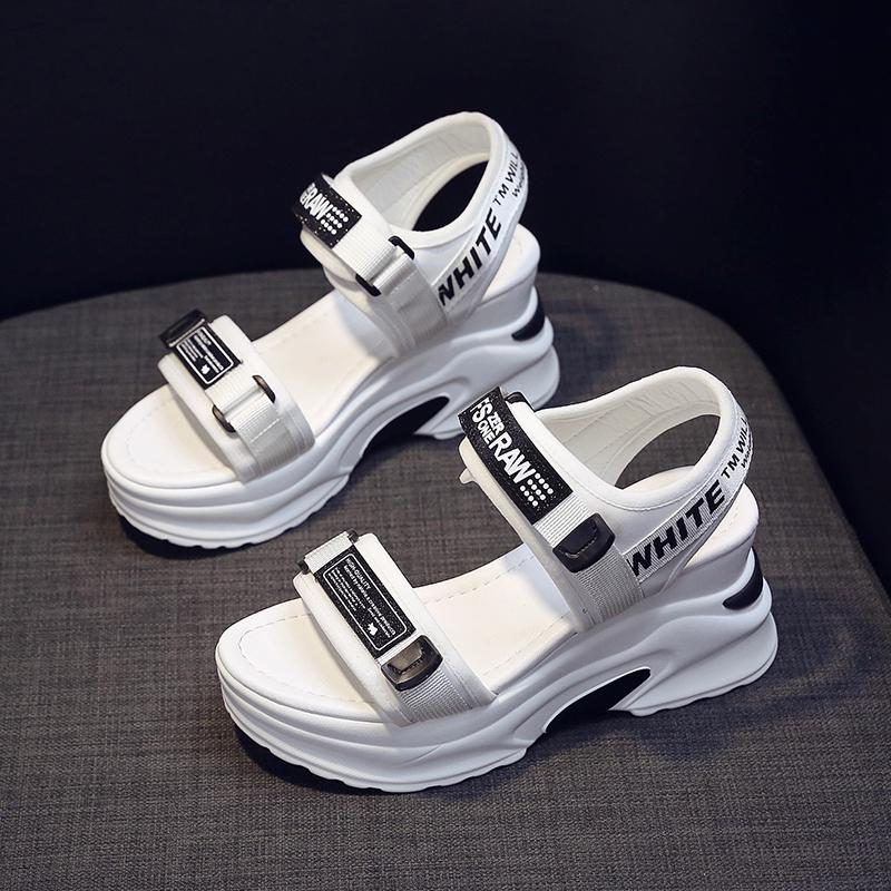 运动凉鞋女士2020夏季新款松糕厚底增高坡跟百搭时尚休闲网红女鞋