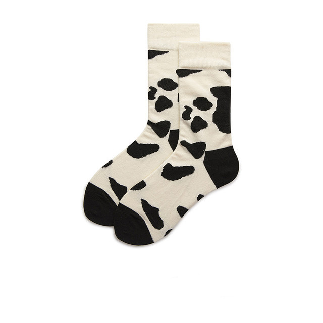 Autumn and winter Korean version of the tide Japanese ins black and white cow pattern pure cotton tube socks college style cute men and women long socks women
