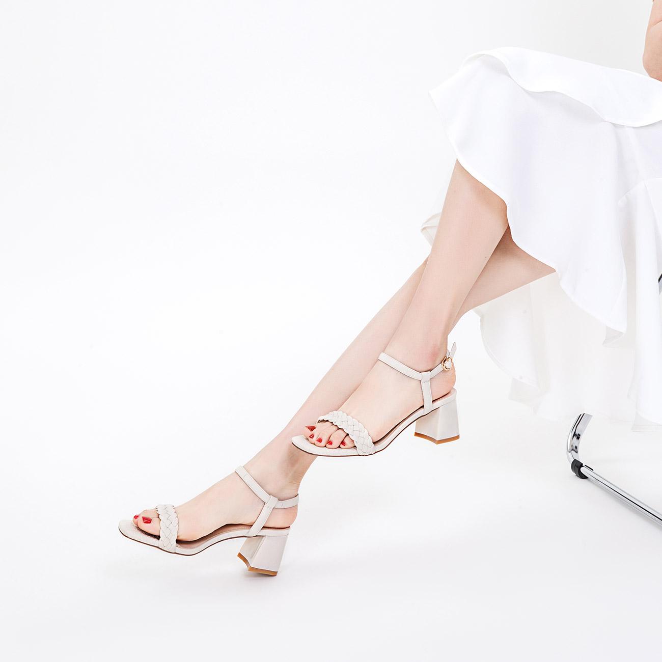 奥康女鞋 夏季气质时尚编织粗跟一字扣带仙女风高跟鞋女鞋