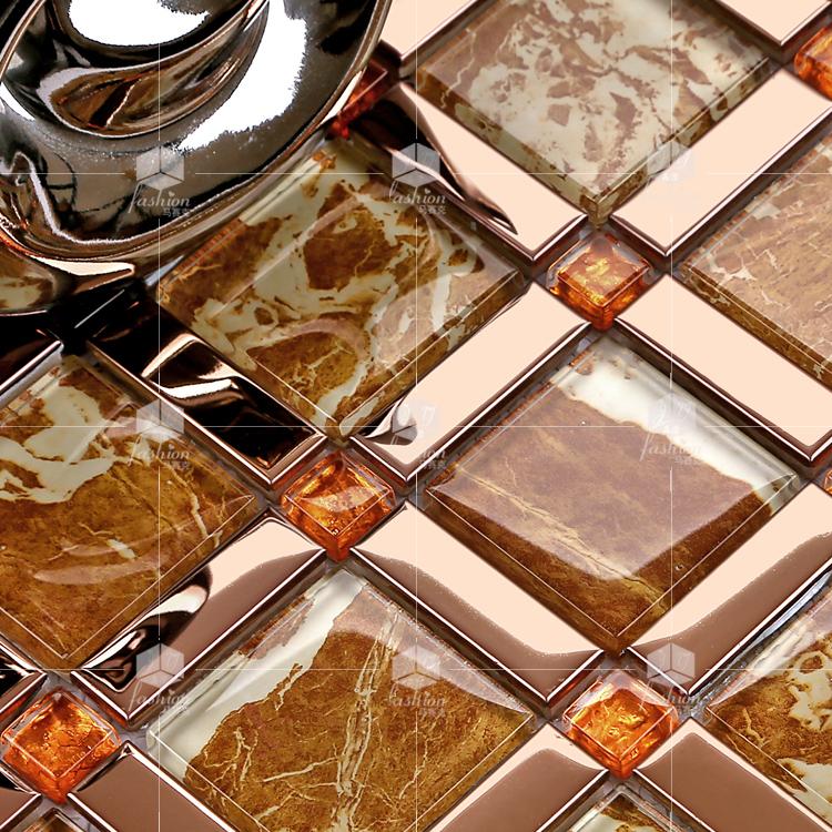 晶滢马赛克 118欧式印花水晶玻璃镜面 客厅拼图背景墙贴 玄关瓷砖