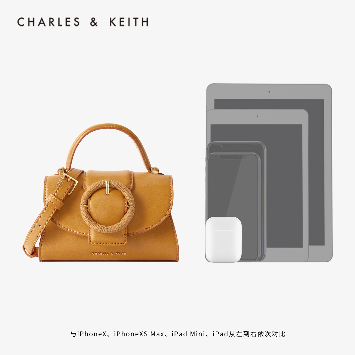 女士圆扣插带手提单肩包 50781266 CK2 春夏新品 KEITH2020 & CHARLES