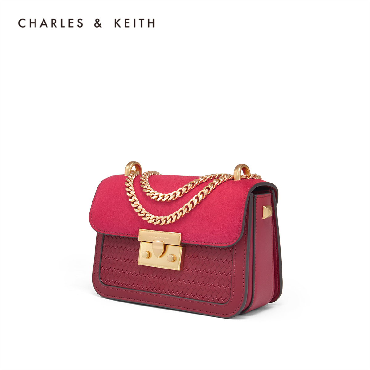 编织格纹饰女士链条小方包 80700798 CK2 单肩包 KEITH & CHARLES