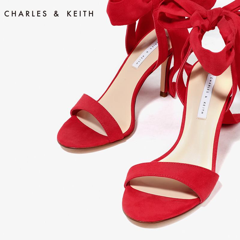 一字带绒面蝴蝶结绑带高跟鞋凉鞋 60360965 CK1 女鞋 KEITH & CHARLES