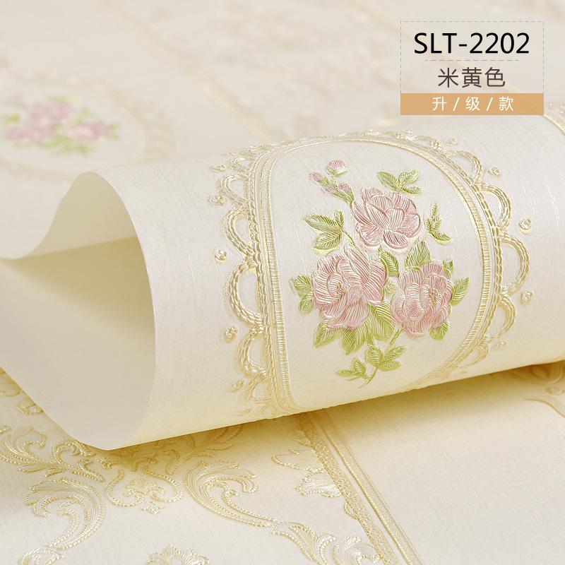 精压壁纸温馨卧室背景墙现代简约升级款 3D 欧式田园无布墙纸客厅