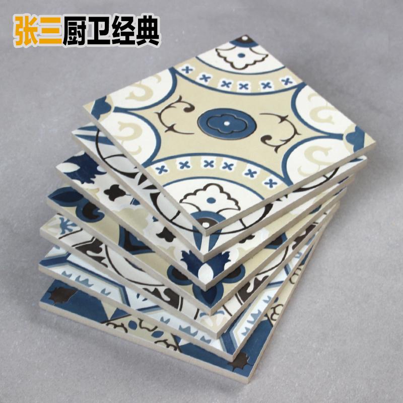 地中海风格蓝色花砖西班牙几何拼花瓷砖混铺墙地砖花片200x200mm