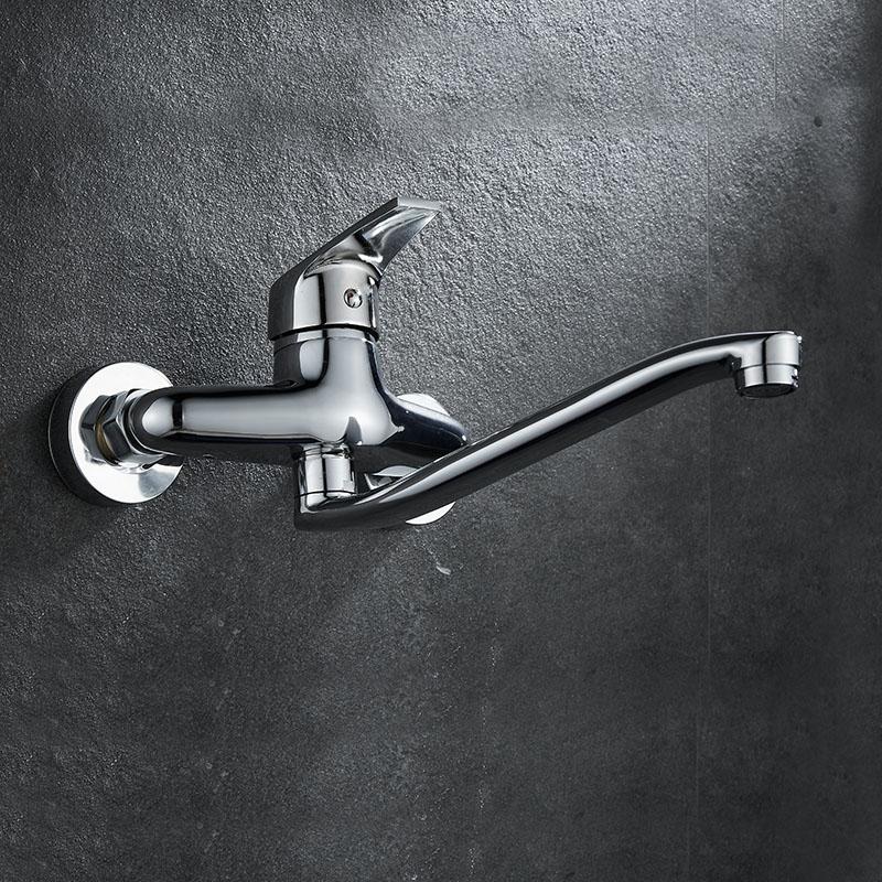 厨房水槽洗菜盆全铜双把入墙式冷热水龙头洗衣池阳台洗手盆混水阀