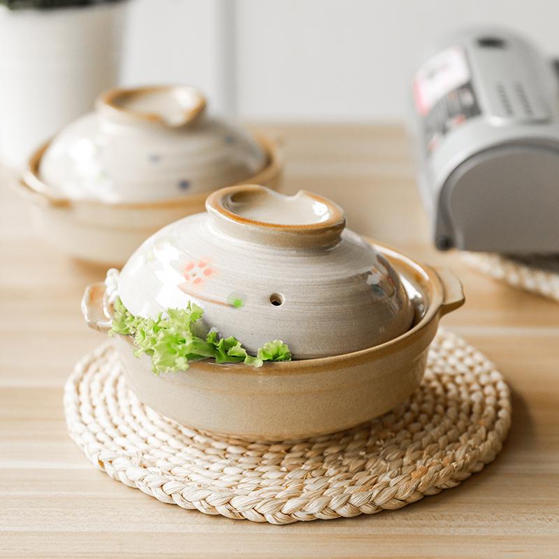 肆月暖舍小号土锅手绘耐高温陶土米线砂锅煮粥煲汤煲仔饭家用瓦煲