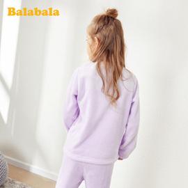 巴拉巴拉女童睡衣秋冬新品套装加厚保暖中大童儿童家居服卡通加绒
