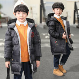 Boys 2019 new winter coat jacket and long sections winter big virgin boy thick padded hooded jacket