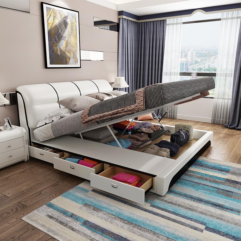 主卧储物床布艺床榻榻米床 米双人床 1.8 真皮床现代简约北欧高箱床