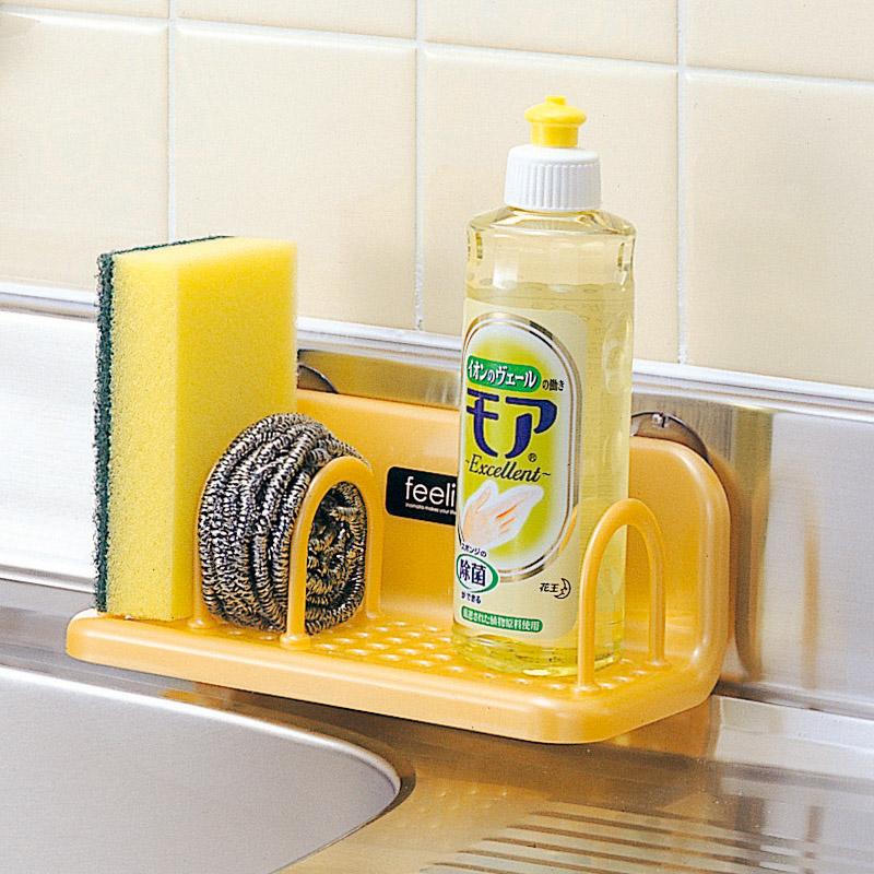 廚房置物架日本進口收納塑料浴室吸盤水槽瀝水架百潔布海綿架托架