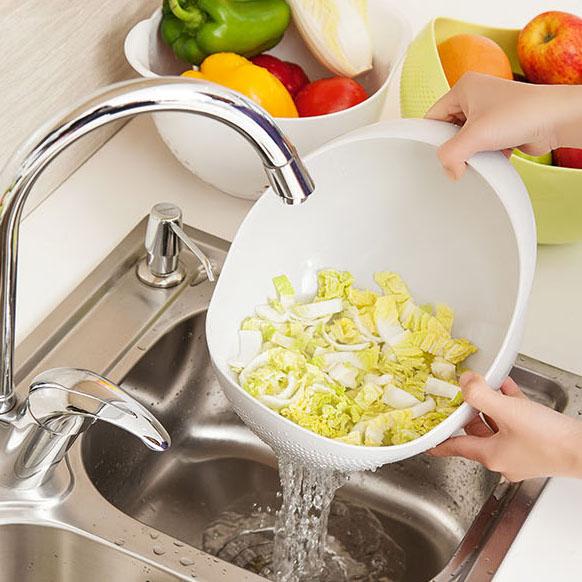 日本厨房洗菜盆沥水篮大塑料菜篮子加厚大号家用洗水果篮淘米神器高清大图