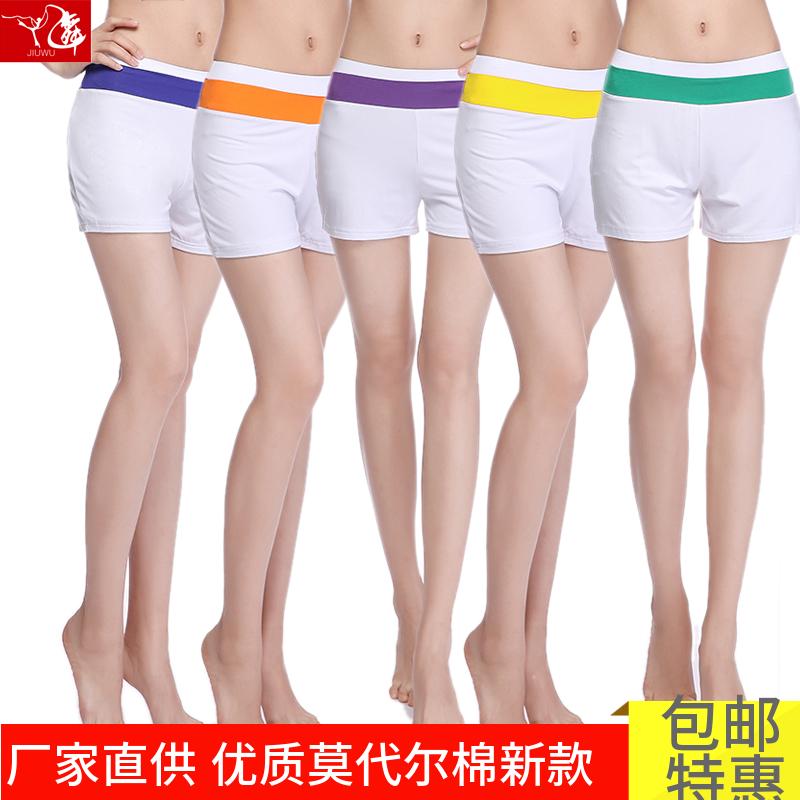 夏季莫代爾瑜伽褲女緊身運動短褲熱褲健身休閒褲子舞蹈練功褲白色
