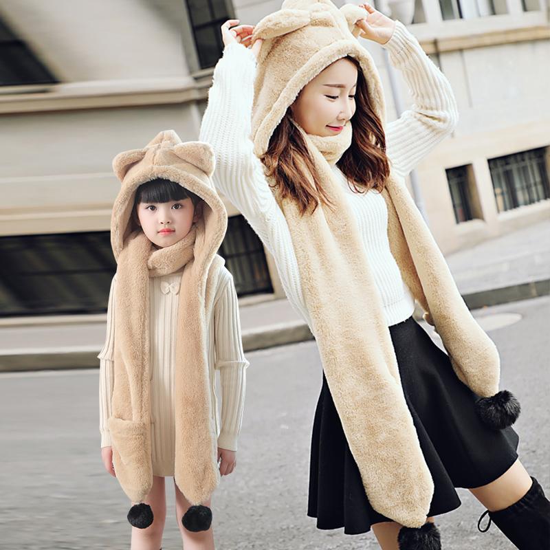 帽子女秋冬季韩版学生可爱女儿童保暖围巾手套一体骑车护耳毛线帽