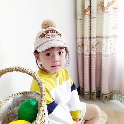 婴儿帽子秋冬季棒球帽毛球男女童鸭舌帽宝宝5个月-2岁帽韩版潮