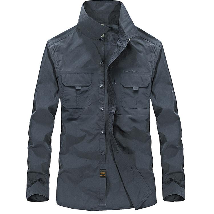 夏季薄款速干衬衫男长袖宽松透气休闲工作服户外登山战术衬衣大码