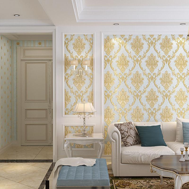 立体欧式壁纸 3d 奢华浮雕无纺布墙纸卧室客厅电视机背景墙影视墙