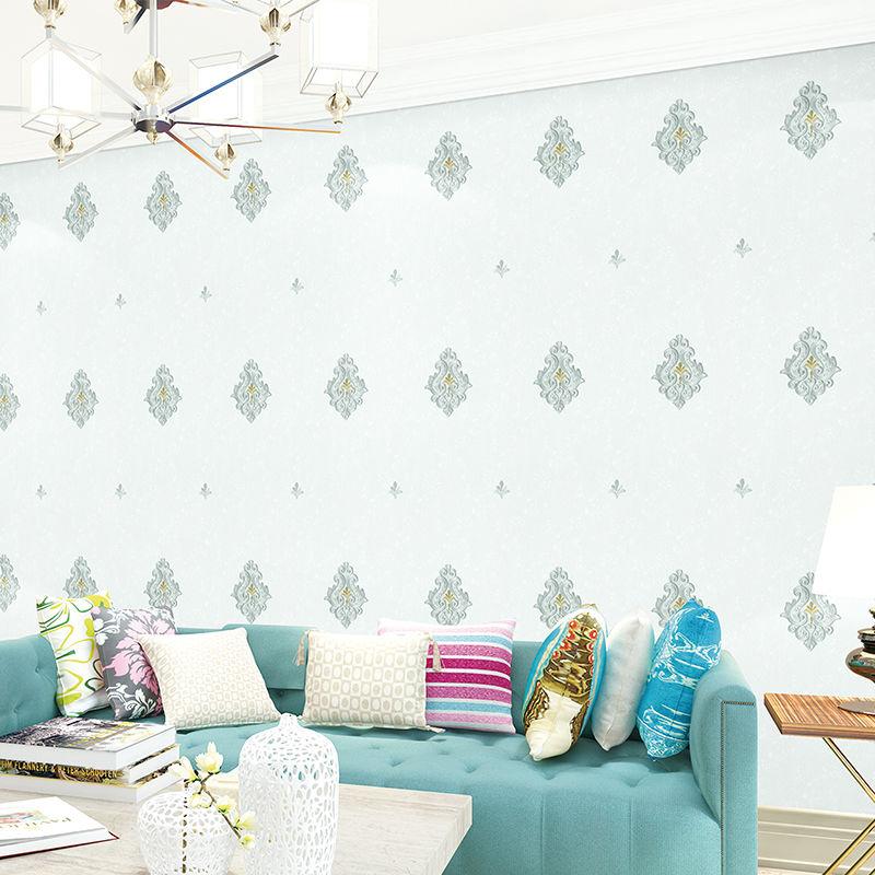 立体感可带辅料施工适用客厅卧室 3D 欧式刺绣无缝墙布壁布防水防潮