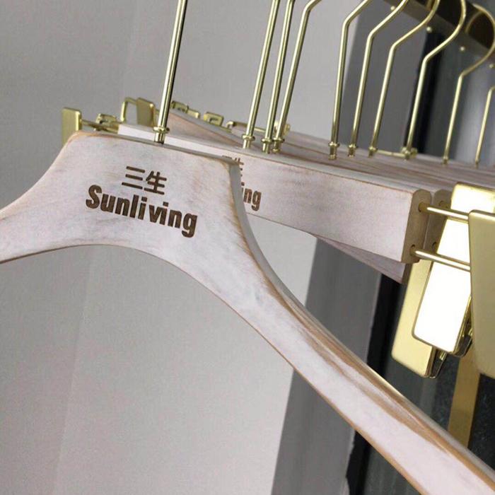 长钩水洗做旧白色复古木衣架包邮实木服装店女装木质挂撑LOGO定制