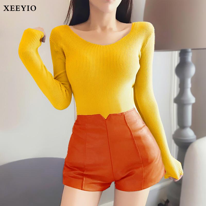 长袖女针织衫打底保暖上衣秋冬装薄款外穿性感修身显瘦V领毛衣