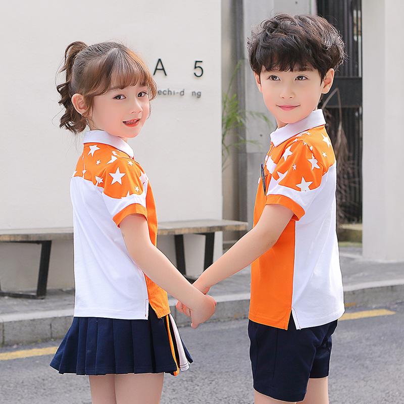 幼儿园园服夏装短袖套装儿童班服运动会夏天小学生校服夏季红色潮