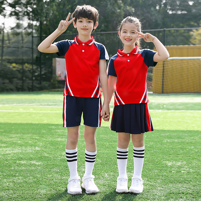 幼儿园夏季短袖园服小学生运动会校服儿童学院风夏装班服套装定制