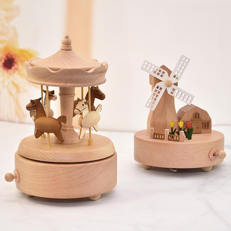 木质旋转木马音乐盒八音盒天空之城创意送女孩生儿童摆件生日礼物