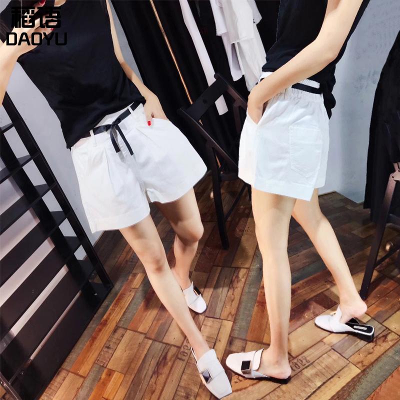 欧货2021夏季新款白色牛仔短裤女韩版阔腿A字休闲短裤宽松热裤潮