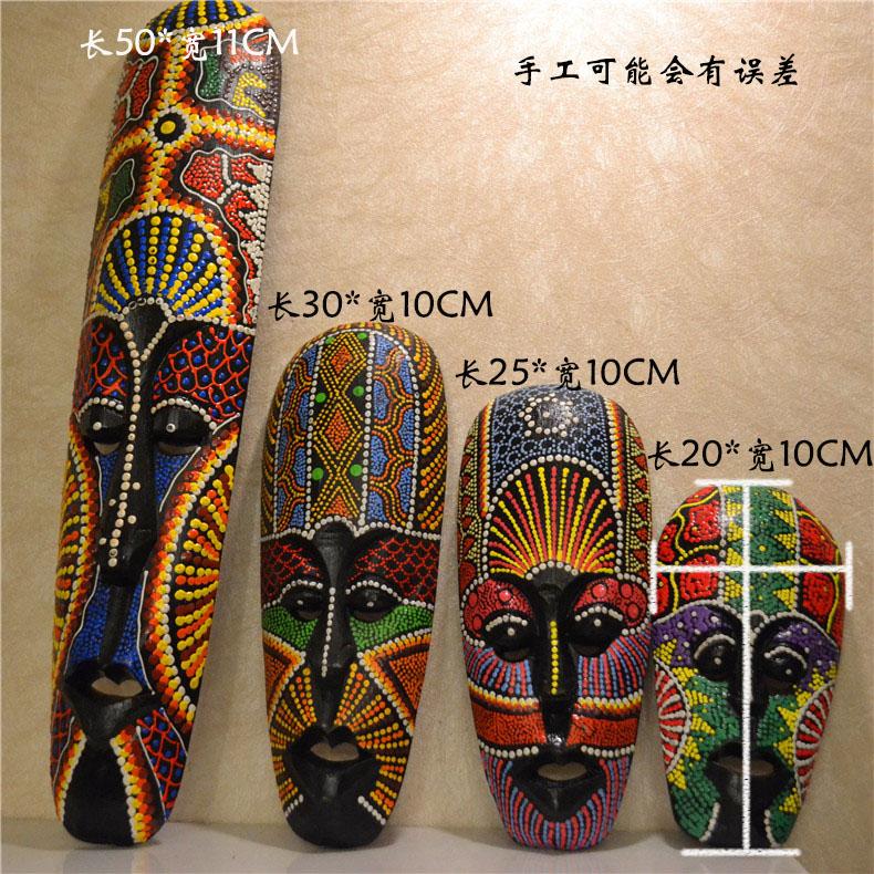 泰國手工非洲點彩面具臉譜 農家樂餐廳客廳酒吧牆壁裝飾面具掛件