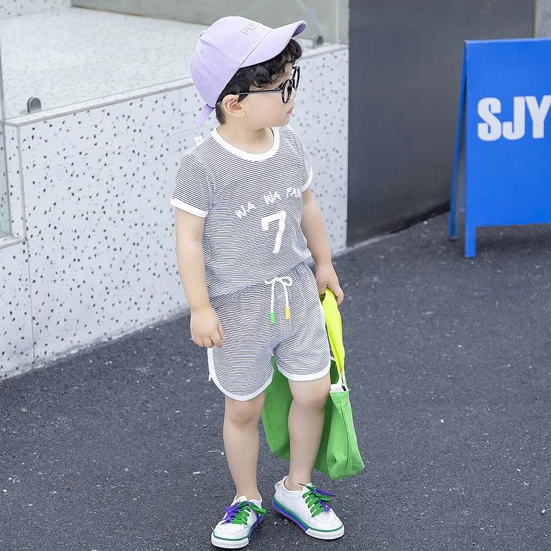 恤短裤洋气潮男童夏季帅气女孩  童装 t 巧豆熊宝宝短袖套装夏装儿童 T