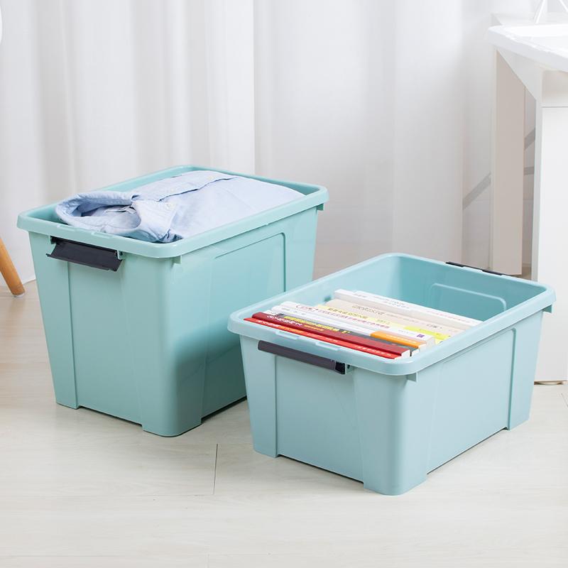 KAJI 塑料收纳箱加厚玩具整理箱储物纳衣服带盖14L20L 提手款两套