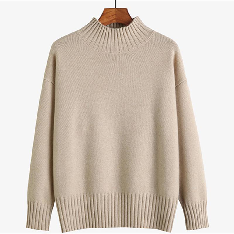 满后品牌毛衣新款纯色山羊绒衫女式长袖半高领套头针织打底衫宽松主图