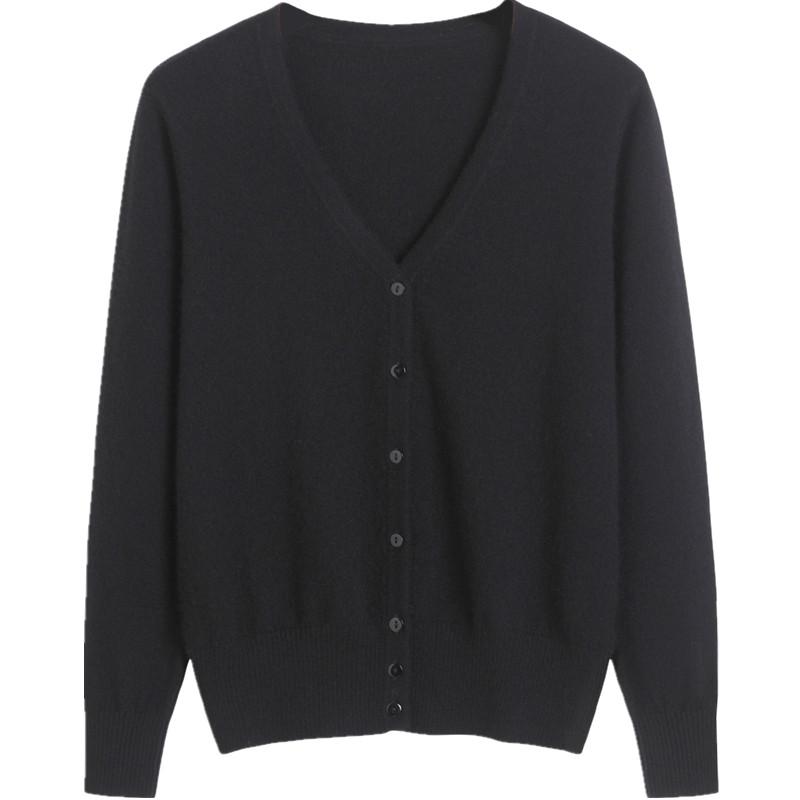 满后品牌羊绒毛衣高贵气质女士新款纯色山羊绒衫纽扣针织开衫外套主图