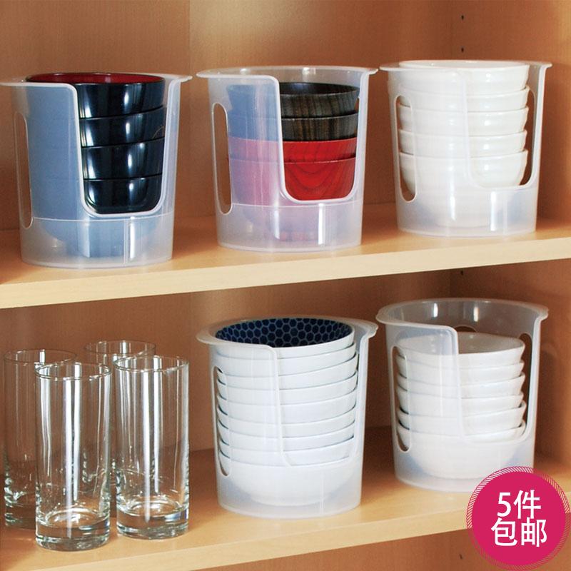 日本廚房置物架碗架放碗碟收納架子碗櫃瀝水架塑料透明餐具收納盒